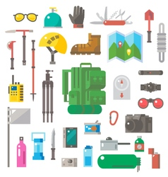 Flat design of hiking equipment set vector image vector image