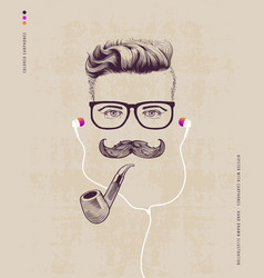 hipster with pipe vector image