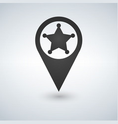 map pointer sheriff star flat design style vector image