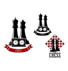 Chess tournament icons with chessmen vector image vector image