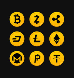 cryptocurrency symbols set vector image