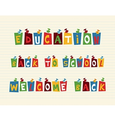 Education colorful pushpin post notes composition vector image vector image