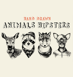 hand drawn animals hipsters set in vintage style vector image vector image