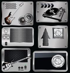 Music Metallic banner vector image vector image