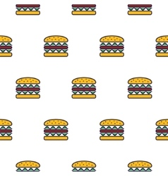Burger line icon seamless pattern vector image vector image