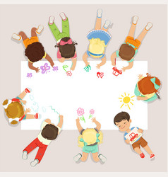 cute litttle kids lying and drawing on big paper vector image