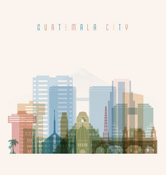 Guatemala city skyline detailed silhouette vector
