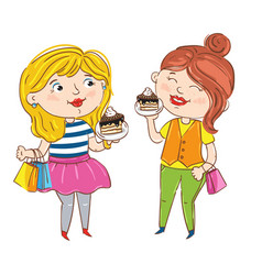 happy young girl cartoon characters vector image vector image