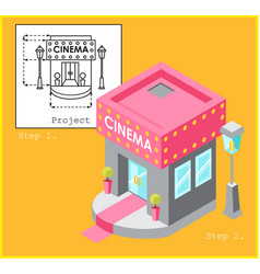 Project cinema in flat and isometric style vector