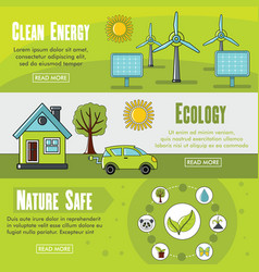 set of three horizontal ecology banners with vector image vector image