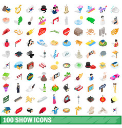 100 show icons set isometric 3d style vector image
