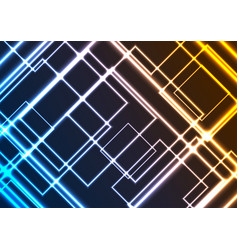 abstract glowing neon colorful squares background vector image