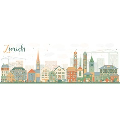 Abstract Zurich Skyline with Color Buildings vector