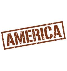 America brown square stamp vector