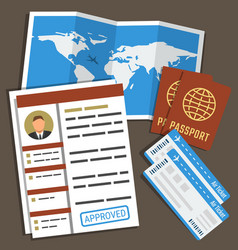 approved visa form passports tickets and map vector image