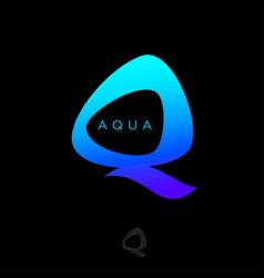 Aqua logo q monogram water drops monogram vector
