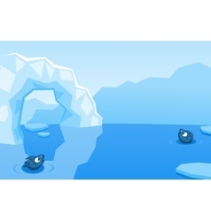 Arctic background with ice floes icebergs vector