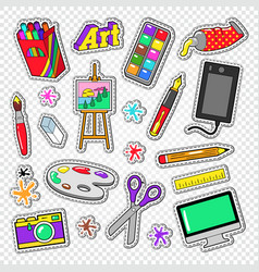 art tools doodle painting stickers with paints vector image