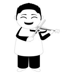 Asian musician cartoon character vector