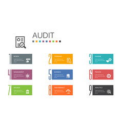Audit infographic 10 option line conceptreview vector