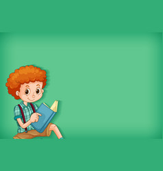background template design with happy boy reading vector image