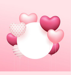 balloon heart pink colorful circle space design vector image