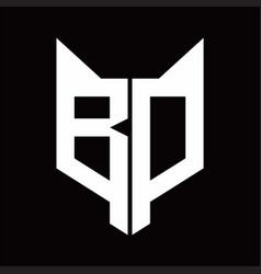 bd logo monogram with fox head shape design vector image