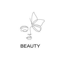 beautiful woman logo design in simple minimal vector image