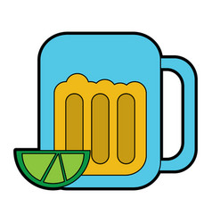 Beer in glass with lime wedge icon image vector