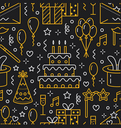 Birthday party seamless pattern flat line vector