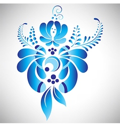 Blue floral element in Russian gzhel style vector