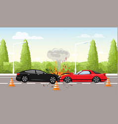 Car accident on road vector