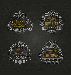 christmas holiday decorative emblems vector image