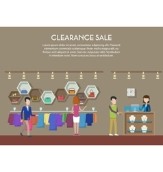 Clearance sale at shop or store interior view vector image