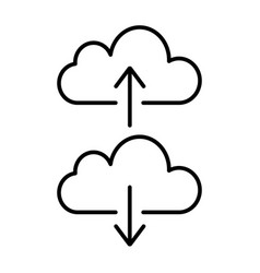 Cloud backup and restore signs linear icon vector