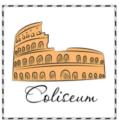 Colosseum in italy icon in cartoon style isolated vector