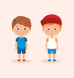 couple of little boys characters vector image