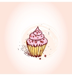 Cupcakes with pink cream Hand drawn sketch on pink vector image