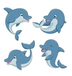 Cute cartoon dolphins set vector