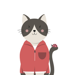 cute cat little kitty with ladybug on tail vector image