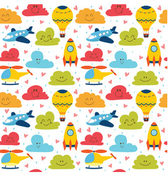 Cute children seamless pattern with plane vector