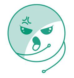 Cute face emoticon kawaii character vector