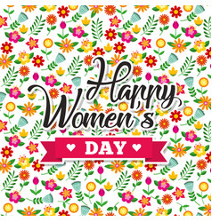 cute floral decoration flowers happy womens day vector image