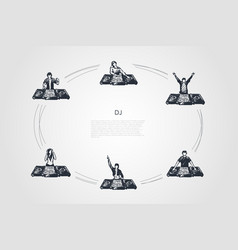 dj - men and women djs in headphones playing music vector image