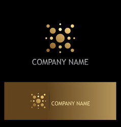 Dot star technology gold logo vector