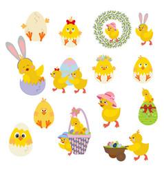 easter chicken set vector image
