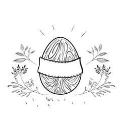 easter egg with blank placard and floral vector image