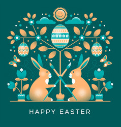 Easter greeting card in unusual style vector