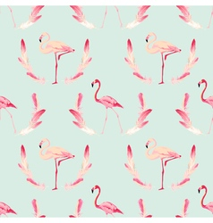 Flamingo Bird Background Retro Seamless Pattern vector image