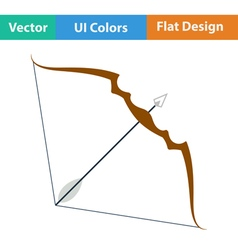 Flat design icon of bow and arrow vector image